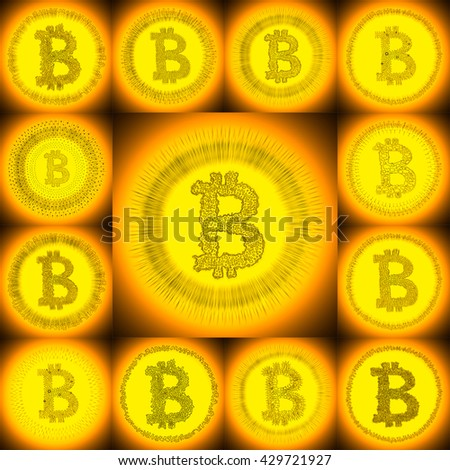 Golden hand-drawn Bitcoin logo. Collage of a digital decentralized crypto currency symbols. - stock photo