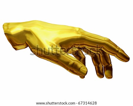 golden Hand with gesture of  Adam out of the painting of Michelangelo, Sistine Chapel Rom - stock photo