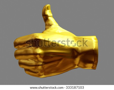 golden hand with like it gesture - stock photo