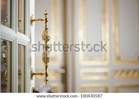 Golden Handle Door Entrance - stock photo