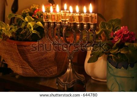 Golden Hanukkah menorah - stock photo