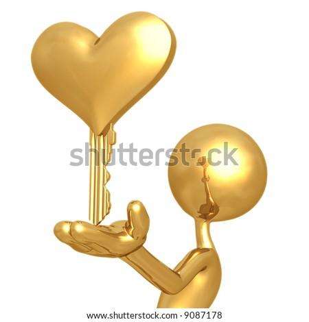 Golden Heart Key - stock photo