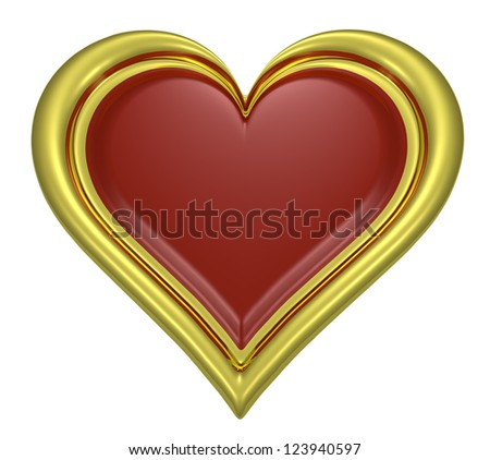 Golden heart pendant with dark-red middle isolated on white background - stock photo