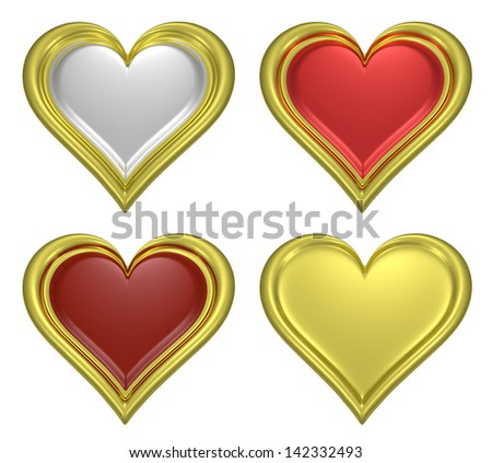 Golden heart pendants set isolated on white background - stock photo