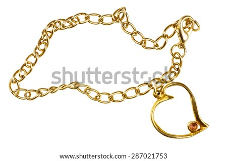 Golden heart shape pendant on chain isolated on white background - stock photo