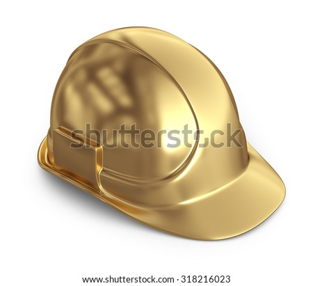 Golden helmet. 3D Icon isolated on white background - stock photo