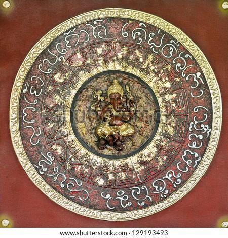 Golden Hindu God Ganesh - stock photo