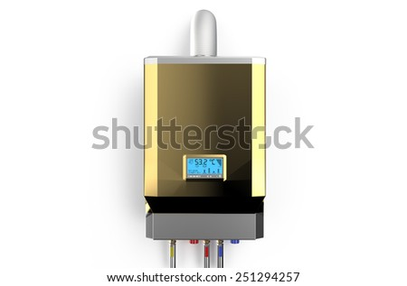 Golden home gas-fired boiler,  water heater isolated on white background - stock photo