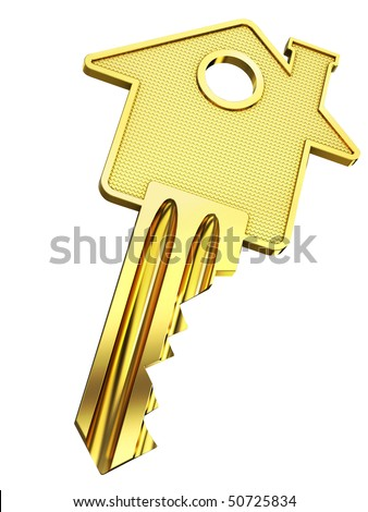 Golden home key with house silhouette (3d illustration) - stock photo