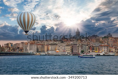 Golden Horn against Galata tower, Istanbul, Turkey - stock photo