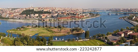 Golden Horn panorama from Pierre Loti, Istanbul, Turkey. - stock photo