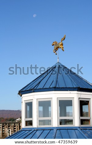 Golden Horse and Moon in Chattanooga Tennessee. - stock photo