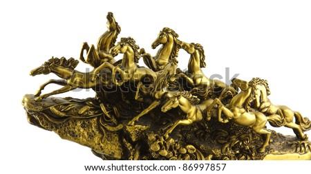 Golden horse statue - stock photo
