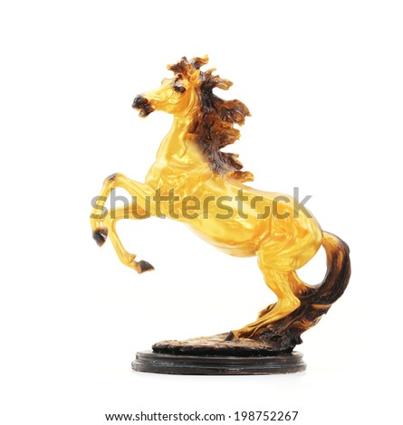Golden Horse Statue Isolate on white background. - stock photo
