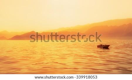 Golden hour capture of Indian ocean shore, Oman - stock photo