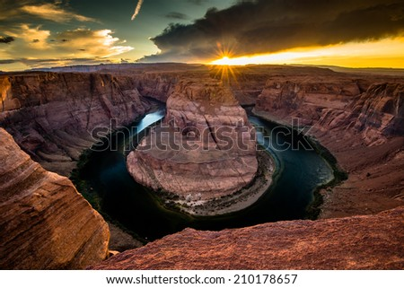 Golden Hour of Horse Shoe Bend - stock photo