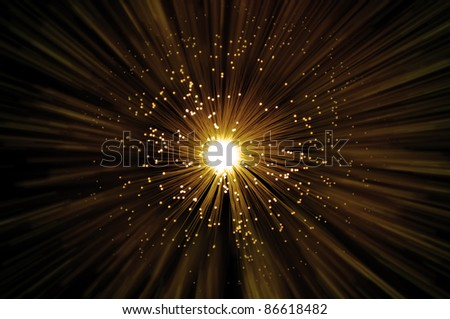 Golden illuminated fiber optic strands emitting a golden blur light effect from centre of image with dark background. - stock photo