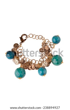 golden jewelery with beads accessory bracelet on white background - stock photo