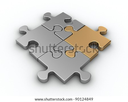 Golden jigsaw piece connected in puzzle structure - 3d render - stock photo