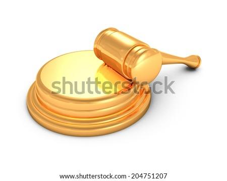 golden judges gavel on white background. 3d render illustration - stock photo