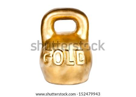 Golden kettebell isolated on white - stock photo