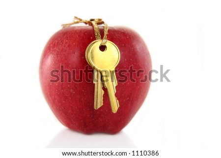 golden key and red apple - stock photo