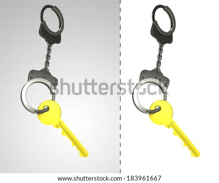 golden key in chain as criminality concept double illustration - stock photo