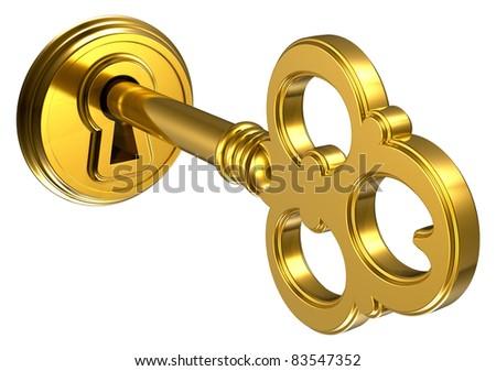 Golden key in keyhole isolated on white background - stock photo