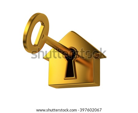 Golden key in keyhole, isolated on white. 3D rendering - stock photo