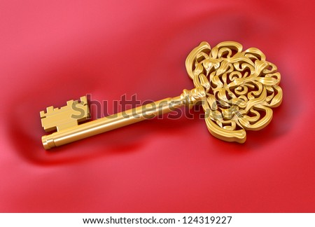 golden key on a red - stock photo