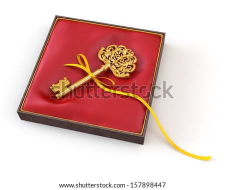 golden key on a red box - stock photo