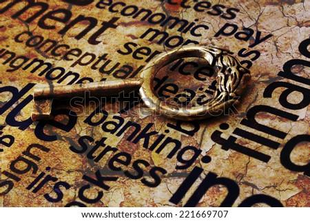 Golden key on banking stress - stock photo