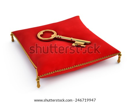 Golden key on red pillow - stock photo