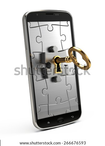 Golden key, puzzle and mobile phone - stock photo