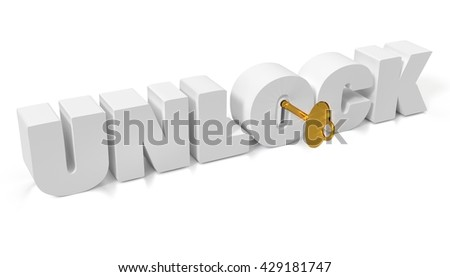 """Golden key to unlock the future """"unlock"""" with keyhole and key isolated on white for presentation. 3D illustration. - stock photo"""