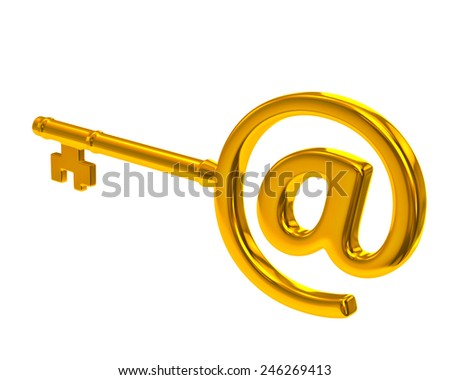 Golden key with e-mail symbol - stock photo