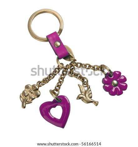 golden keychain - stock photo