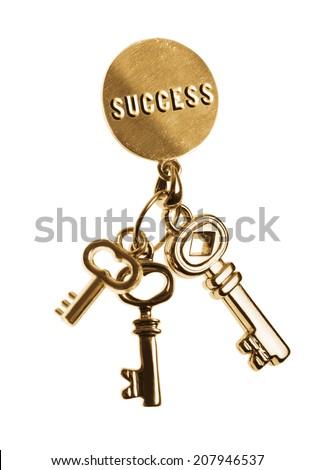 Golden keys for success. isolated on white.  - stock photo