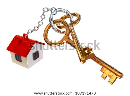 golden keys from the house with charm as symbol of mortgage credit lending - stock photo
