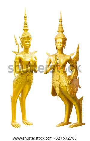 Golden Kinnari statue half-bird, half-woman creature at south-east Asian Buddhist mythology welcome pose,Thailand concept isolated on white background with clipping path - stock photo