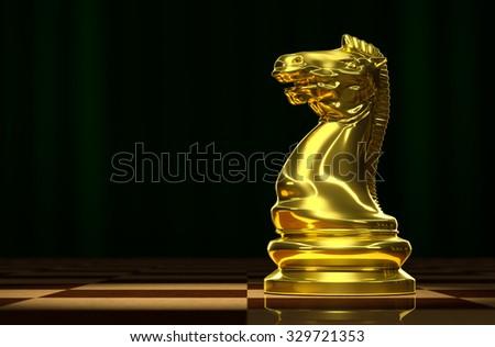 Golden Knight on the chessboard background luxury. - stock photo