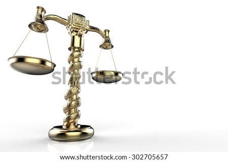 golden law scale illustration - stock photo