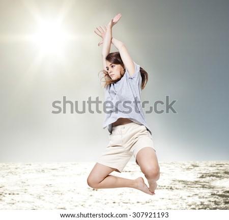 Golden Leap. - stock photo
