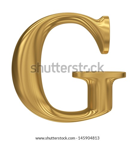 Golden letter G. Gold solid alphabet, high quality 3d render - stock photo
