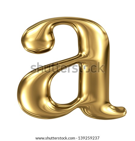 Golden letter lowercase high quality 3d render isolated on white - stock photo