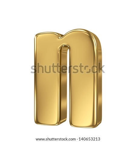 Golden letter n lowercase high quality 3d render isolated on white - stock photo