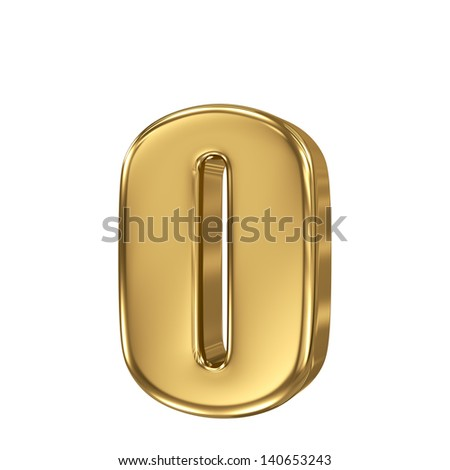 Golden letter o lowercase high quality 3d render isolated on white - stock photo
