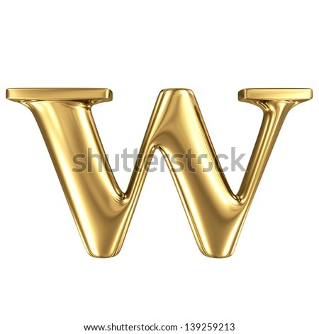 Golden letter w lowercase high quality 3d render isolated on white - stock photo