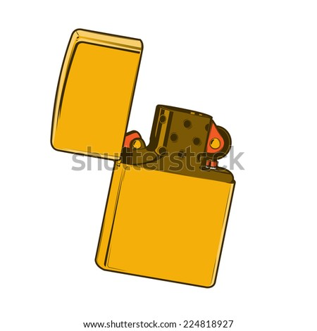 Golden lighter isolated on a white background. Color line art. Retro design. Raster copy. - stock photo