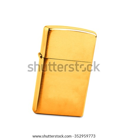 golden lighter on a white background - stock photo